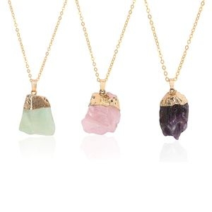 Jewelry - Raw Crystals Gold Dipped Necklaces Varying Colors